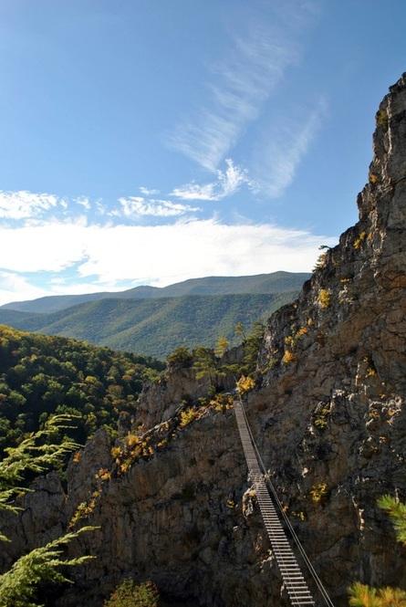 Photo of Nelson Rocks via ferrata, one of the via ferrata climbing sites in the United States. #adventuretravel #viaferrata #climbing